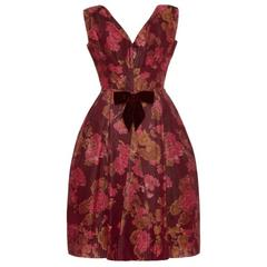 1960's Oscar de la Renta for Elizabeth Arden Silk Floral Dress