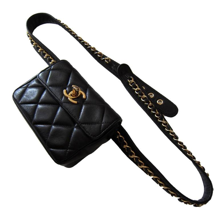Chanel Chain Hook Belt Quilted Waist Bag Black Leather  For Sale