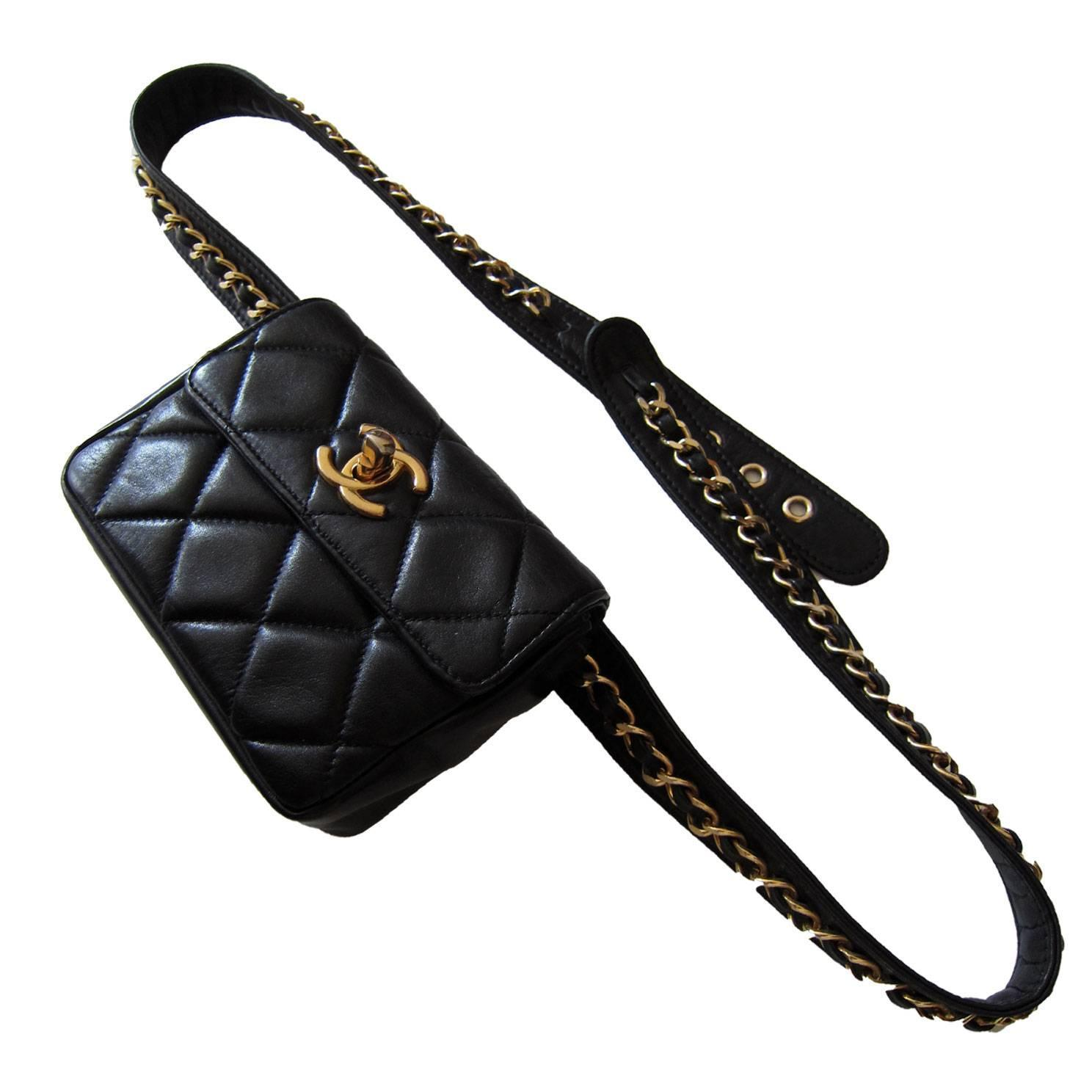 31f0cb9d3184 Chanel Chain Hook Belt Quilted Waist Bag Black Leather at 1stdibs
