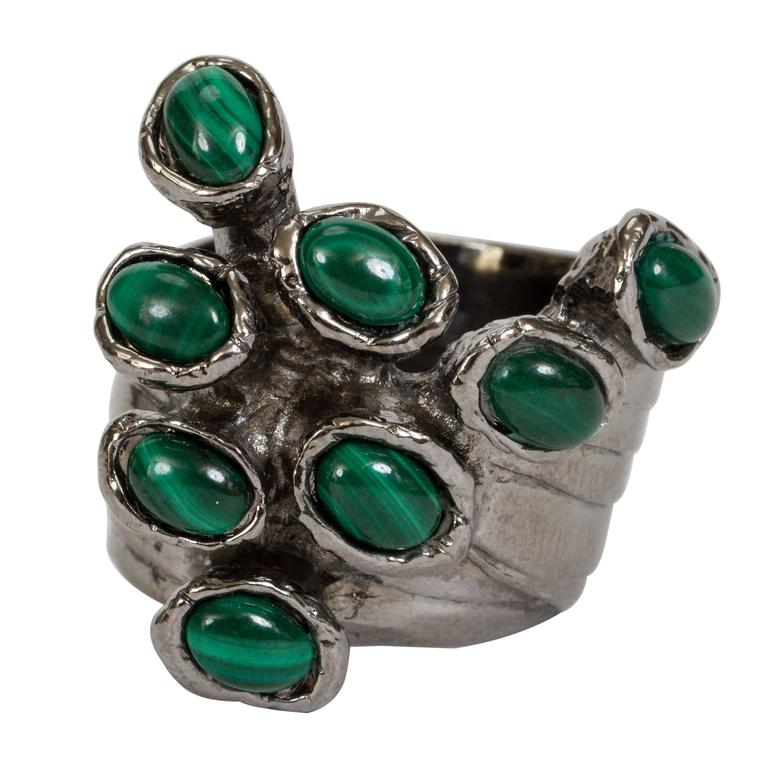yves saint laurent silver plated malachite ring for sale. Black Bedroom Furniture Sets. Home Design Ideas