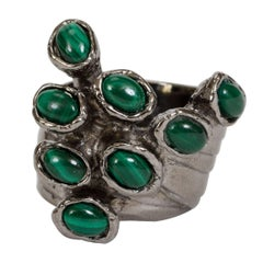 Yves Saint Laurent Silver-Plated Malachite Ring