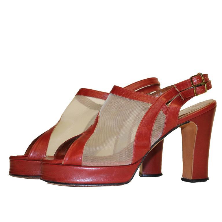 1970s Red Leather Mesh Peep Toe Platforms