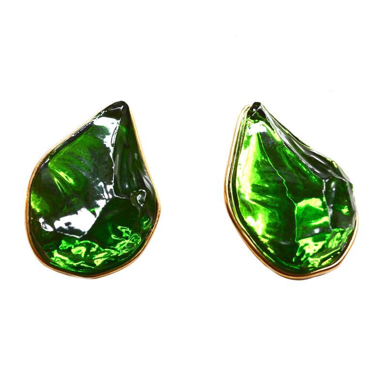 Oversized Yves Saint Laurent Green Earrings For Sale