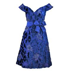 ARNOLD SCASSI 1980's Blue Velvet & Satin Cocktail Dress with Rhinestones Size 8
