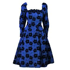 ARNOLD SCASSI Cobalt Blue Evening Dress with Floral Pattern Size 10-12