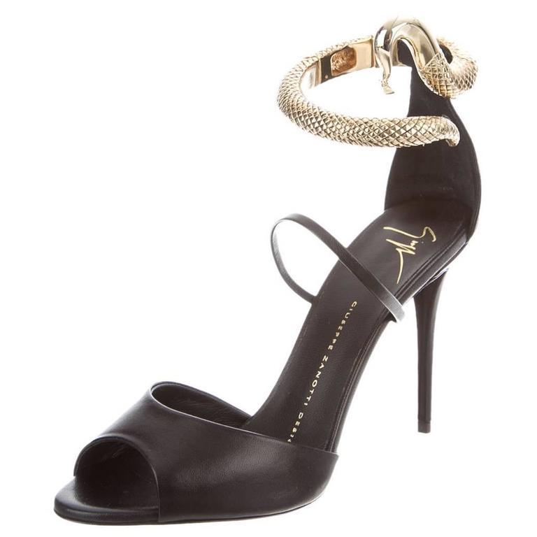 Black Gold Snake Heels Strappy Sandals