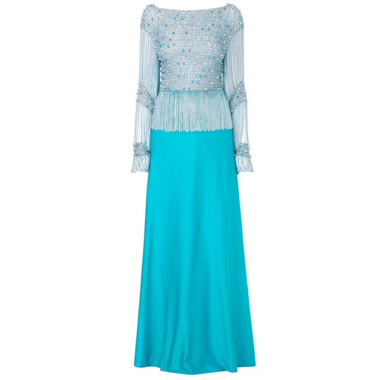 Azzaro turquoise skirt & top, circa 1978 For Sale