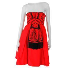 Dior Strapless Dress - red/black