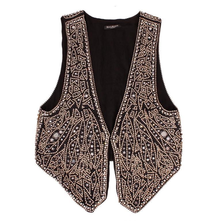 Balmain black linen studded vest For Sale