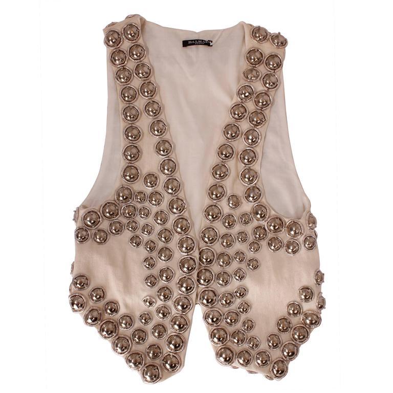 Balmain white linen studded vest