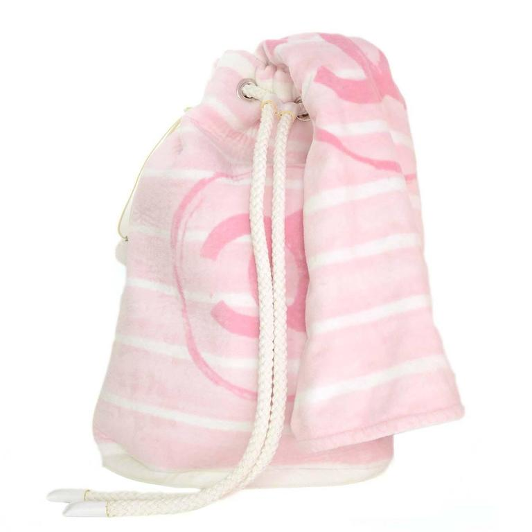 Chanel Pink & White CC Terrycloth Bag & Beach Towel Set SHW 1