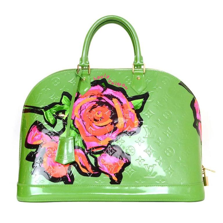 3e480c26ea10 Louis Vuitton Green Monogram Vernis Rare Stephen Sprouse Roses Alma GM For  Sale