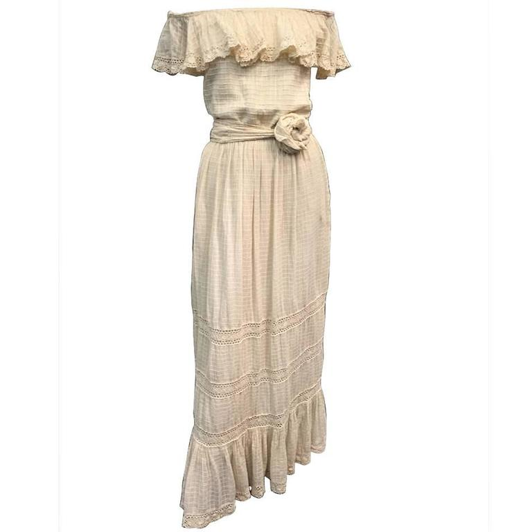 1960s Oscar De La Renta Three-Piece Cotton Lace and Silk Ruffled Sundress  1