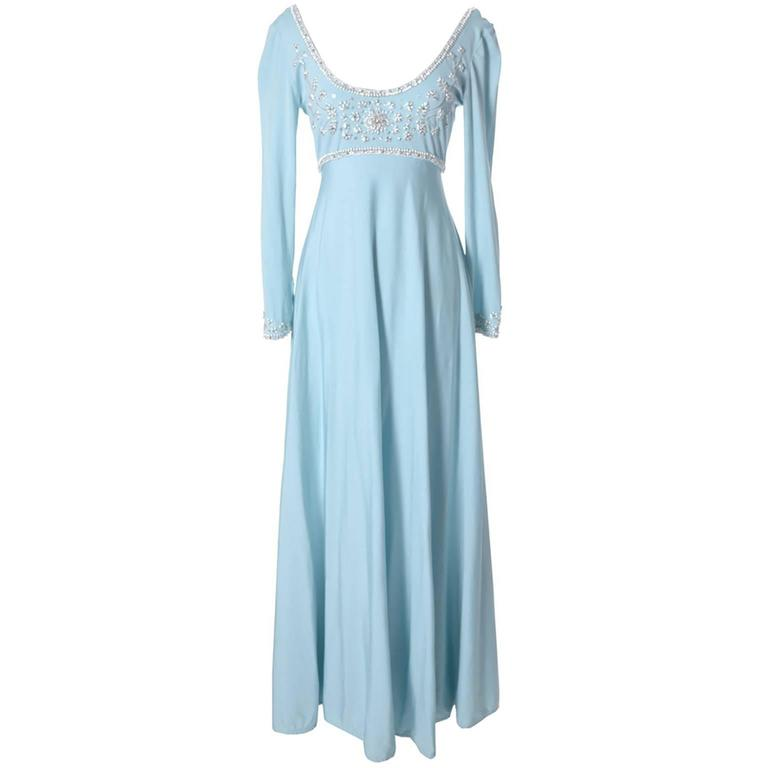 Victoria Royal Ltd 1970s Vintage Dress in Blue Jersey With Beading & Rhinestones