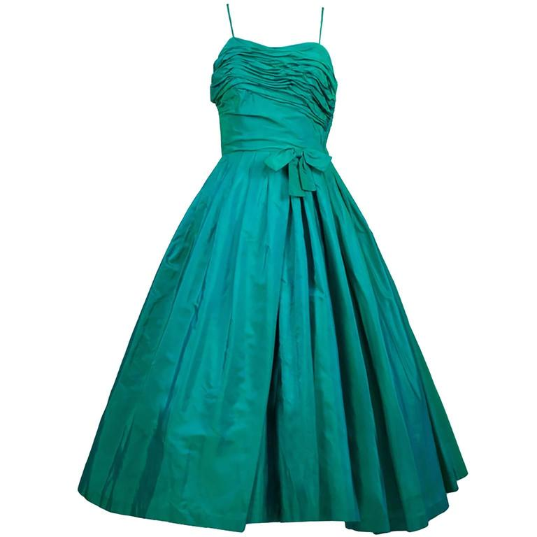 Sensational 1950s Vintage Dress Iridescent Green Pleating Bow 2/4 1