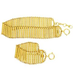 Vintage Chanel Gold Choker Necklace and Bracelet Set Rare 1980s