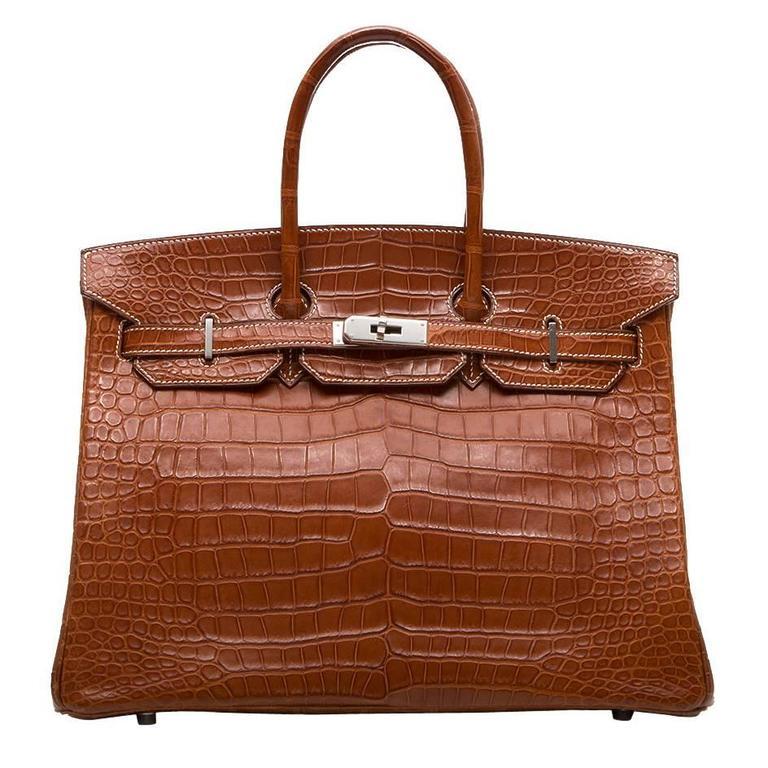 Hermes Fauve Barenia Matte Alligator 35cm Birkin Bag