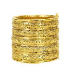 Vintage Chanel Gold Wide Cuff Bangle Bracelet 1980s