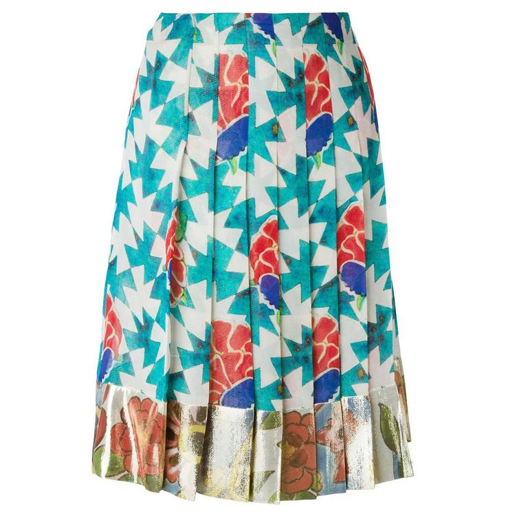 Chanel Floral Print Pleated Skirt