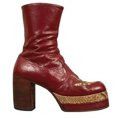 Mens burgundy leather platform boots with snakeskin, c. 1970