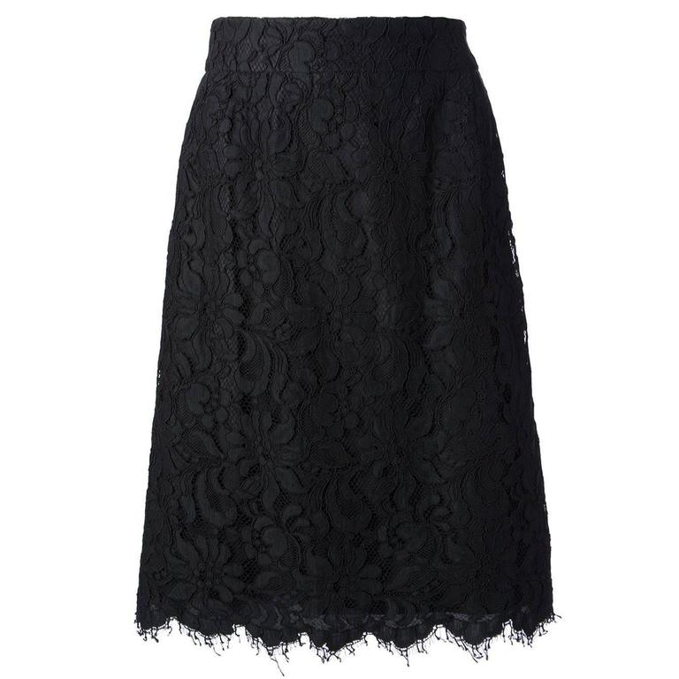 Christian Lacroix from the Suzy Menkes Collection Floral Lace Skirt For Sale
