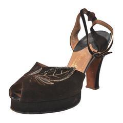 1940s Brown Suede Platform Shoes, 7M