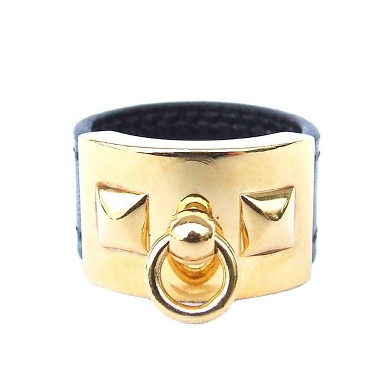 Hermes Collier de Chien CDC Medor Ring Black Leather Gold Hdw Size L  For Sale