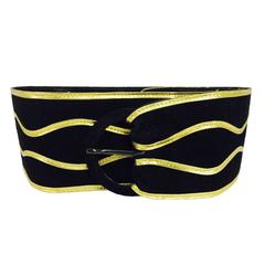 Vintage Yves Saint Laurent wide black suede with gold cord belt 1980s medium
