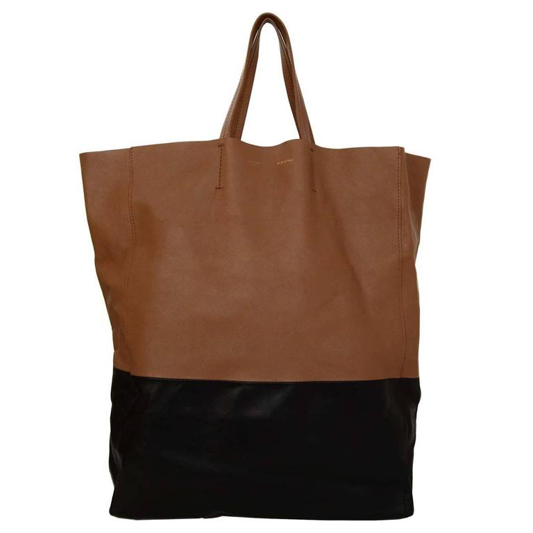 Celine Black & Tan Leather Bi-Cabas Tote rt. $1,290 1