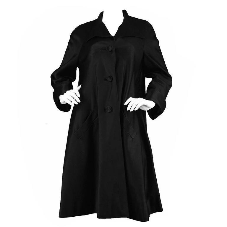 1950s Hardy Amies Couture Vintage Black Silk Satin Opera Coat