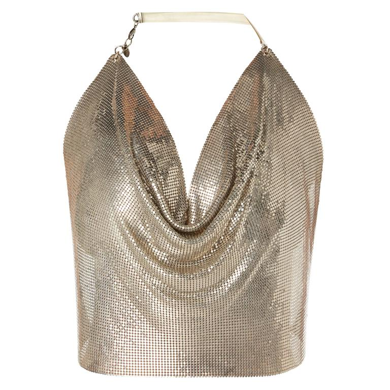 Paco Rabanne silver chainmail top, circa 1968 For Sale