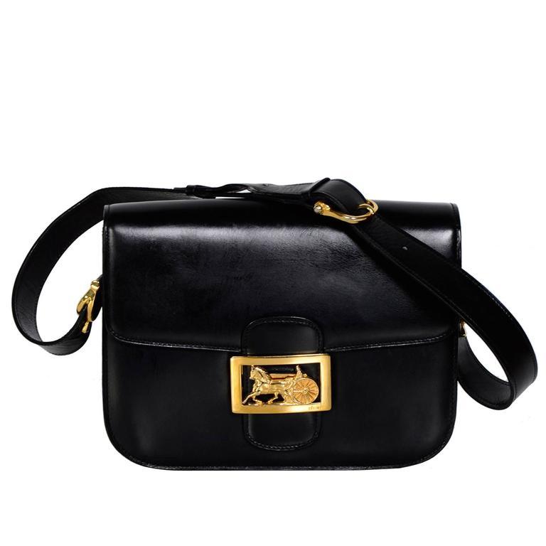 Celine Vintage Horse Carriage Buckle Black Box Leather Shoulder Bag For