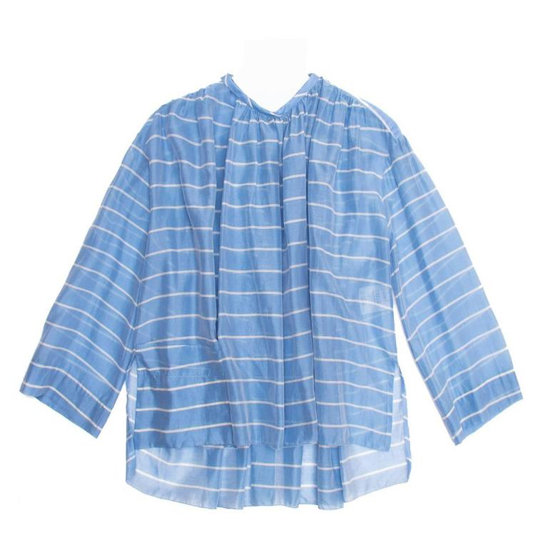 Balenciaga Sky Blue Striped Top