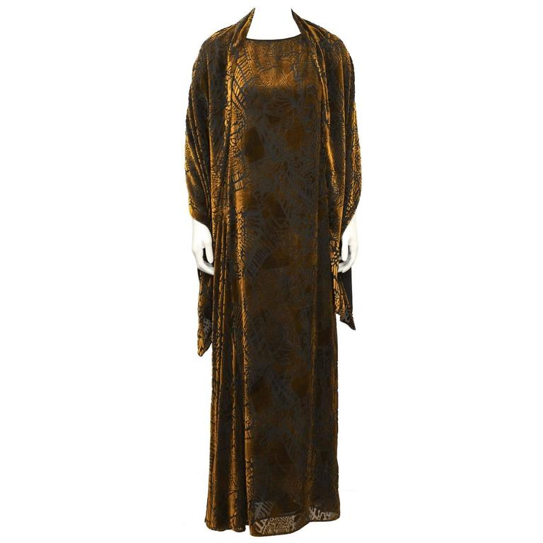 1980's Christian LaCroix Devoré Bronze Sleeveless Dress & Shawl For Sale