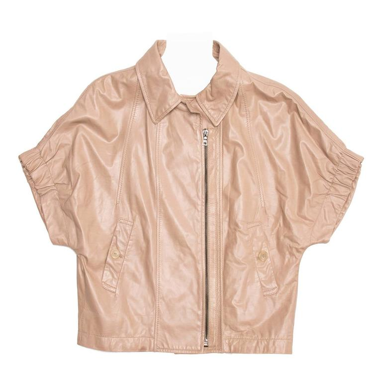 Prada Tan Cropped Leather Jacket For Sale
