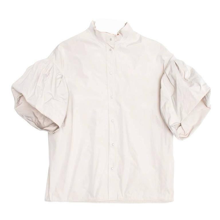 Lanvin Taupe Puffed Sleeve Top