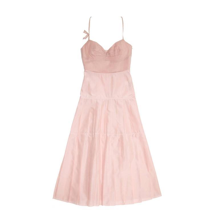 Jil Sander Pink Bustier Pleated Dress