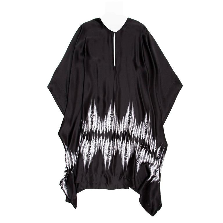 Thomas Wylde Black & White Silk Kaftan For Sale