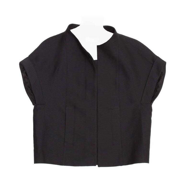 Chloe' Black Cotton Cropped Jacket