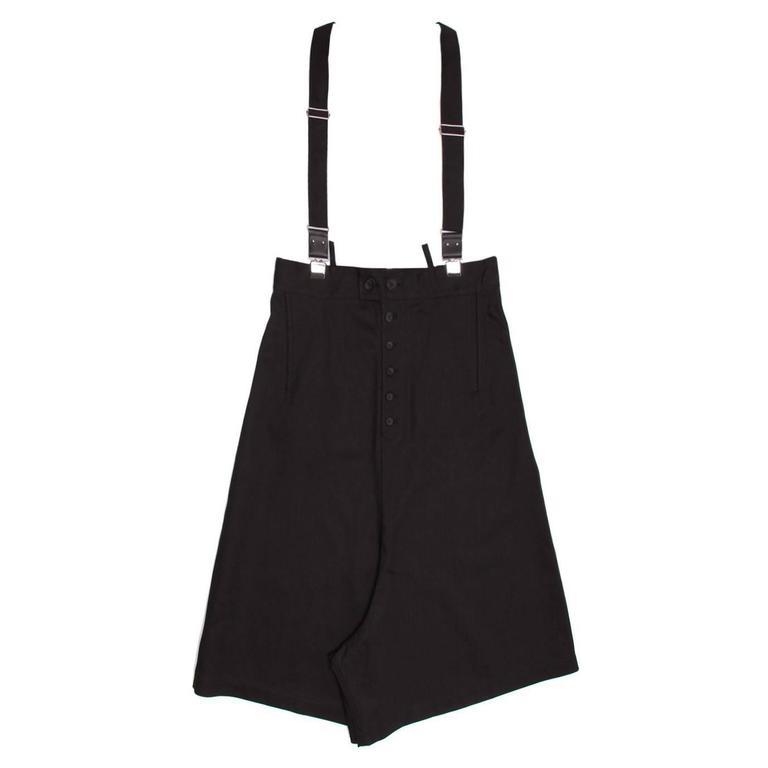 Yohji Yamamoto Black Denim Culottes With Suspender