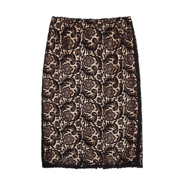 Prada Black Lace & Nude Slip Skirt For Sale
