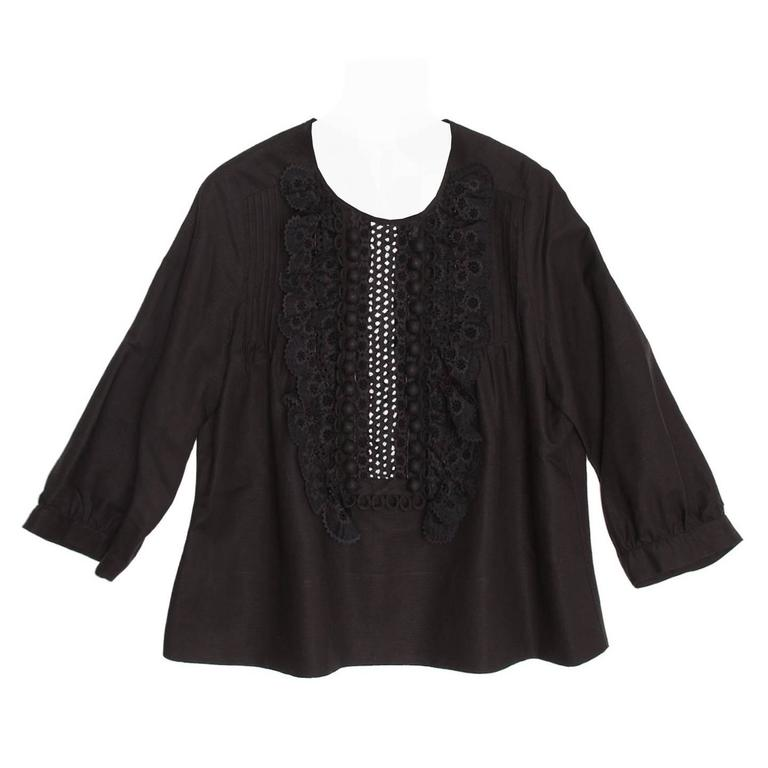 Chloe' Black Linen Top With Ruffles For Sale