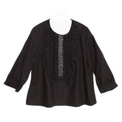 Chloe' Black Linen Top With Ruffles