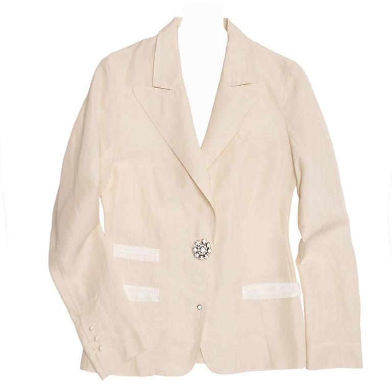 Lanvin Cream Raw Silk Blazer For Sale