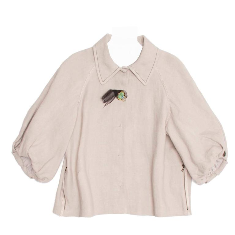 Lanvin Ecru Linen Cropped Jacket