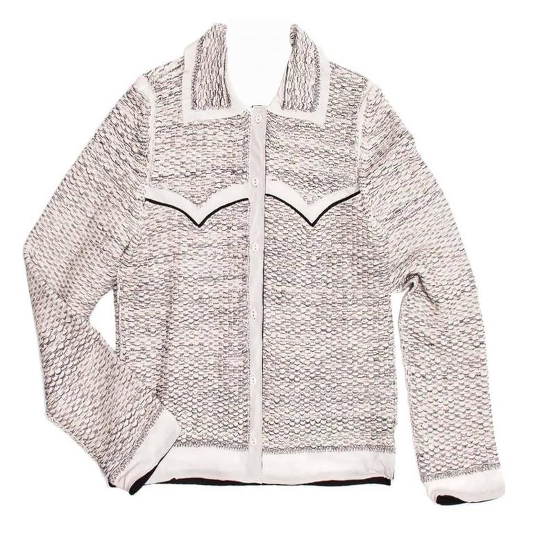 Prada Ivory & Grey Western Cardigan For Sale