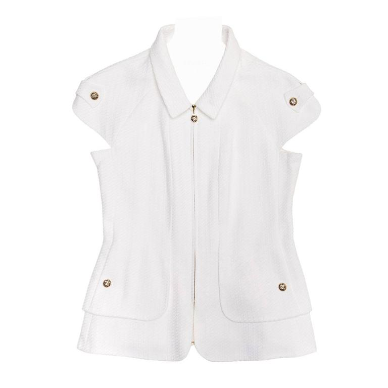 Chanel White Thick Pique Cotton Zip Front Jacket Vest