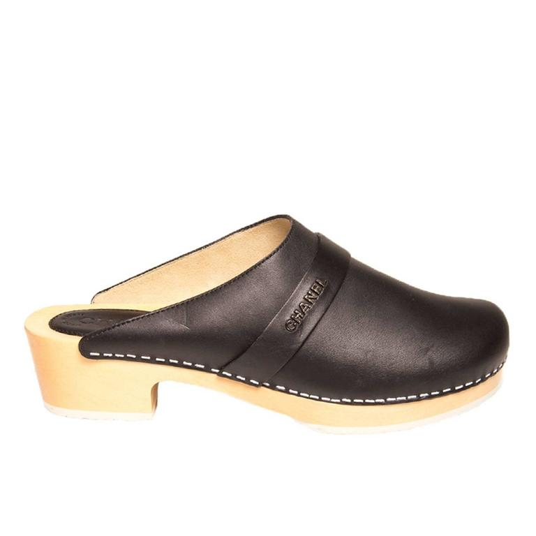 Chanel Black Leather Wooden Clogs 1