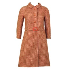 1960's Antonelli Red & White Wool & Mohair Coat and Skirt Set