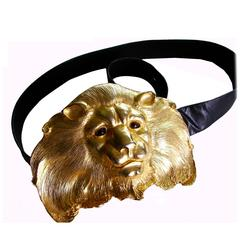 Christopher Ross Extraordinary Lion Head Buckle 24ct Gold Plate + Belt Strap 80s